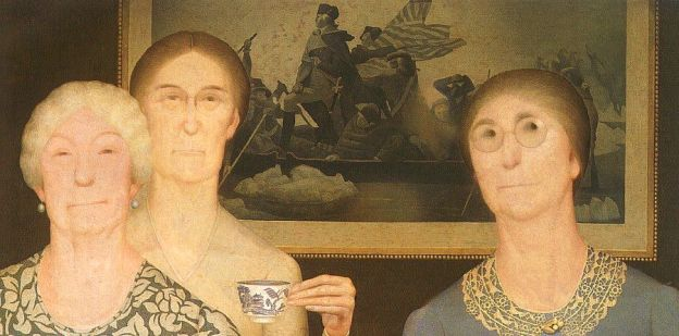 "Painting: Grant Wood, ""Daughters of Revolution"""