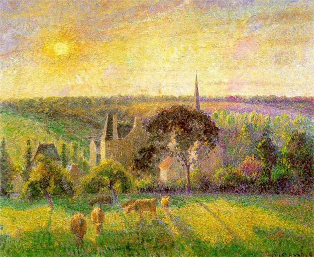 Painting by Camille Pissarro: The Church and Farm of Eragny (1895)