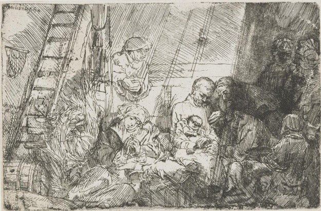 "Image: Rembrandt etching ""The Circumcision in the Stable"""