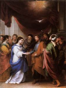 "Image: Painting ""The Marriage of the Virgin"" by Bartolome Esteban Murillo, 1670"